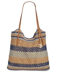 Giani Bernini Striped Woven Tote Only At Macy's Navy Multi
