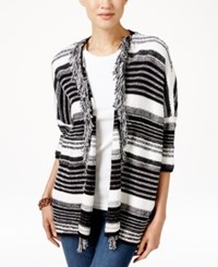 Tommy Hilfiger Ava Striped Fringe Cardigan Snow White