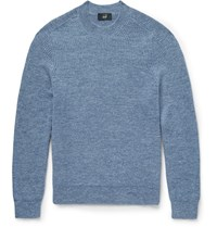 Dunhill Slim Fit Ribbed Mohair And Linen Blend Sweater Light Blue