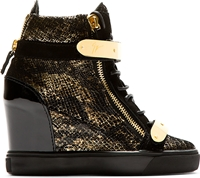 Giuseppe Zanotti Black And Gold Lorenz High Top Wedge Sneakers