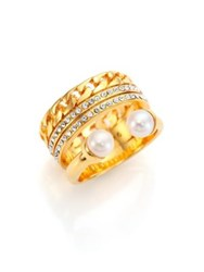 Vita Fede Grace Titan 5Mm 5.5Mm White Akoya Pearl And Crystal Chain Ring Gold