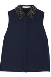 Alice Olivia Lorrie Embellished Stretch Silk Georgette Top Midnight Blue