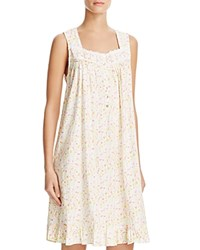 Eileen West Sleeveless Short Nightgown White Ground Bunched Floral