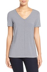 Women's Nordstrom Collection Stripe Stretch Modal V Neck Tee