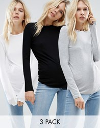 Asos T Shirt With Long Sleeves And Crew Neck 3 Pack Black White Grey Multi