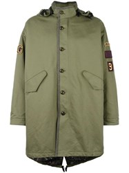 Marc Jacobs Patch Detail Oversized Parka Green