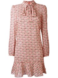 Red Valentino Heart Print Dress Pink And Purple