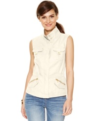 Inc International Concepts Linen Military Vest Washed White
