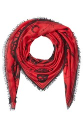Alexander Mcqueen Printed Scarf With Silk Red