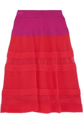 M Missoni Crochet Knit Cotton Blend Skirt Red