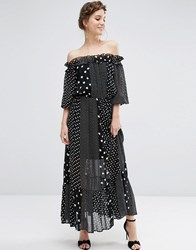 Asos Off Shoulder Maxi Dress In Spot Print Multi