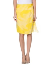 Rena Lange Knee Length Skirts Yellow