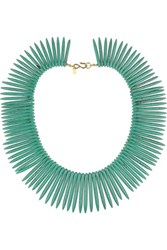 Kenneth Jay Lane Gold Plated Resin Necklace Turquoise