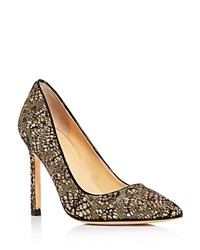 Ivanka Trump Carra Glitter Pointed Toe Pumps Black Gold