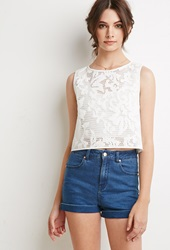 Forever 21 Faux Leather Embroidered Mesh Top White