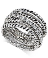 Inc International Concepts Silver Tone Textured Pave Statement Ring Only At Macy's