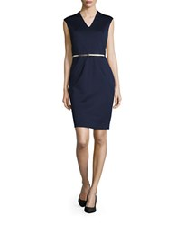 Ellen Tracy Belted Sleeveless V Neck Sheath Dress Navy