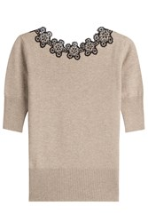 Etro Wool Blend Knit Top With Lace Beige