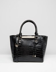 Dune Mock Croc Tote Bag Black Croc