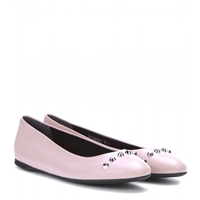 Balenciaga Classic Embellished Leather Ballerinas Orchidee