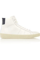 Saint Laurent Court Classic Leather High Top Sneakers