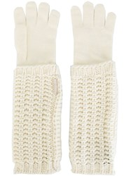 Moncler Knitted Long Gloves Nude And Neutrals