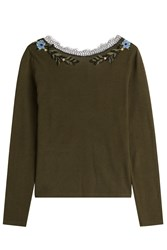 Alberta Ferretti Wool Pullover With Embroidery And Lace Collar Green