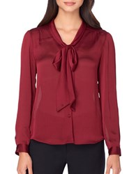 Tahari By Arthur S. Levine Solid Bow Tie Blouse Burgundy Red