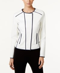 Inc International Concepts Faux Leather Trim Moto Jacket Only At Macy's Washed White Navy