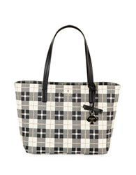 Kate Spade Small Ryan Plaid Faux Leather Tote Light Shale