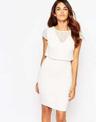 Lipstick Boutique Kylie Dress With Embroidered Overlay Creamorganza