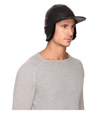 Ugg Leather Baseball Hat W Sheepskin Trim Black Baseball Caps