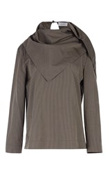 Isa Arfen Striped Scarf Top Brown