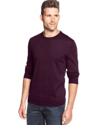Club Room Big And Tall Solid Merino Blend Crew Neck Sweater Red Plum
