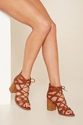Forever 21 Cutout Lace Up Block Heels