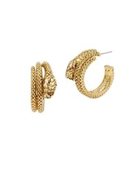 Betsey Johnson Garden Of Excess Goldtone Snake Wrap Hook Earrings