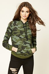 Forever 21 Camo Print Drawstring Hoodie