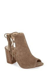 Sole Society Women's 'Freja' Open Toe Bootie Dark Taupe Suede