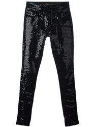 Saint Laurent Sequin Embellished Skinny Jeans Black