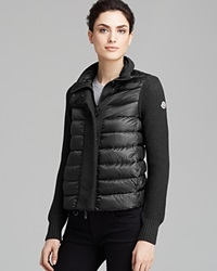 Moncler Cardigan Maglione Textured Down Black