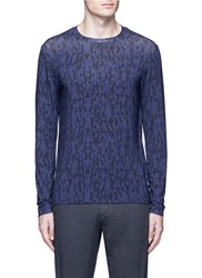Armani Collezioni Slim Fit Diamond Print Long Sleeve T Shirt Blue