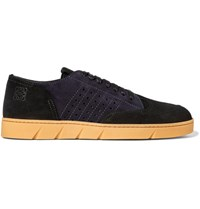Loewe Two Tone Panelled Suede Sneakers Navy