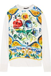 Dolce And Gabbana Paneled Printed Silk Sweater Yellow