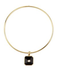 Uni Creation 18K Gold Pyramid Onyx And Diamond Pendant Collar Necklace
