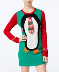 Hooked Up By Iot Juniors' Penguin Holiday Sweater Dress Cloverfield