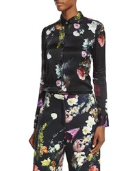 Adam By Adam Lippes Floral Print Silk Button Up Blouse Boutique Black
