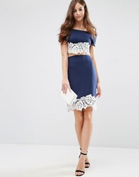 Jessica Wright Jersey Pencil Skirt With Lace Hem Navy