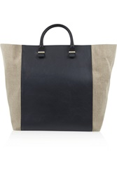 Victoria Beckham Boston Leather And Canvas Tote Black