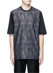 Christopher Kane Oversized Abstract Jacquard Cotton T Shirt Black