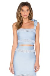 Lolitta Mesh Cutout Crop Top Blue